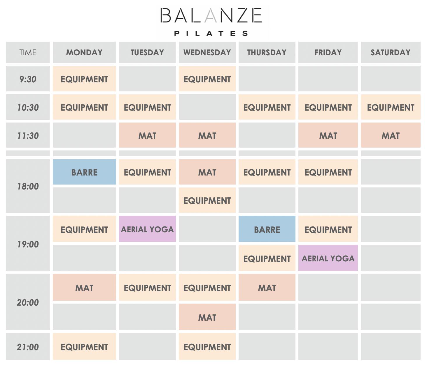 Εβδομαδιαίο Πρόγραμμα Pilates